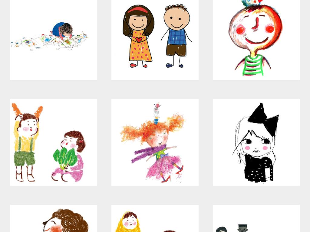 可愛卡通手繪小人簡筆畫涂鴉兒童插畫png素材