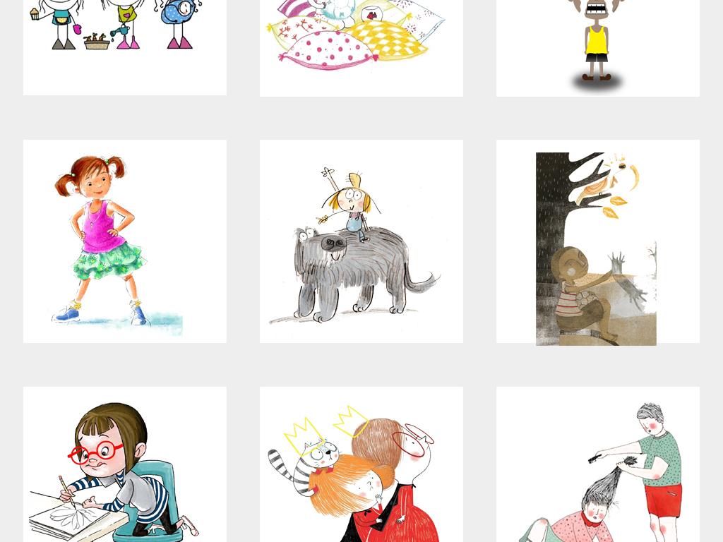 可爱卡通手绘小人简笔画涂鸦儿童插画png素材