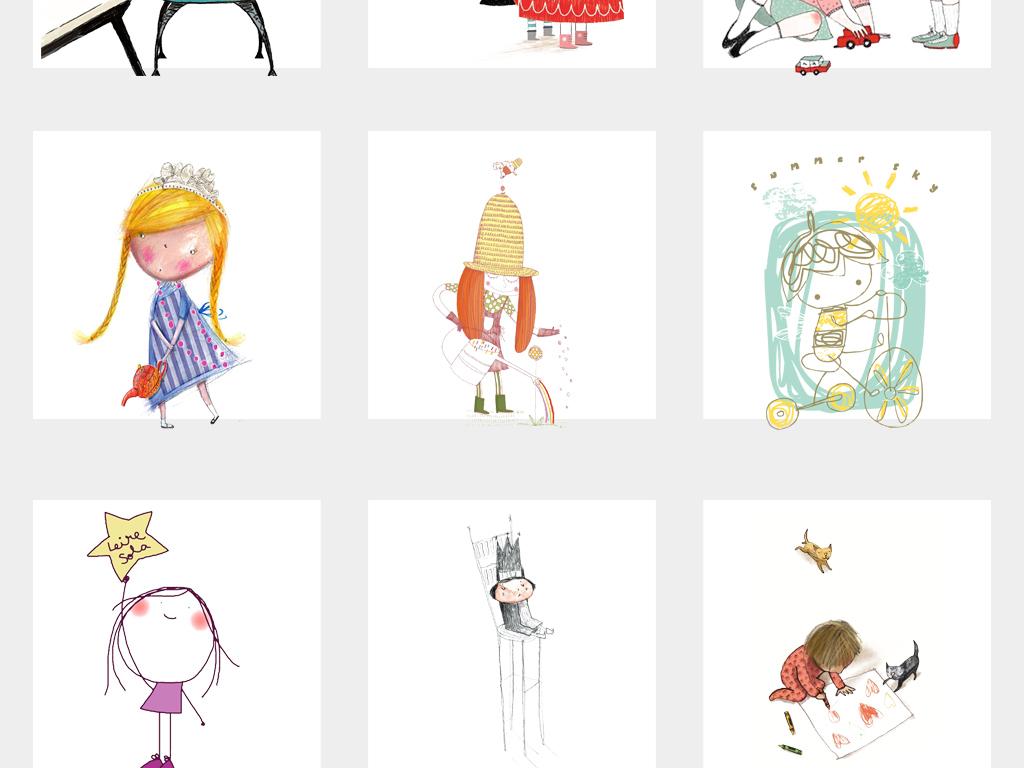 可爱卡通手绘小人简笔画涂鸦儿童插画PNG素材图片 模板下载 10.05MB 儿童节大全