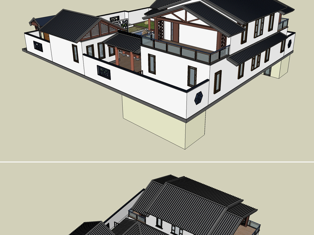 一款新中式别墅四合院su模型设计图下载(图片2.09mb)