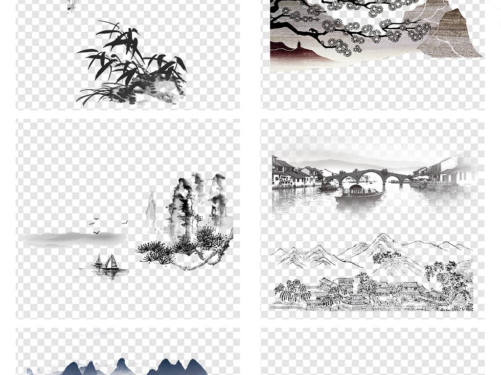 背景素材 中国风背景 > 中国风古风古典水墨山水白鹤荷花png素材