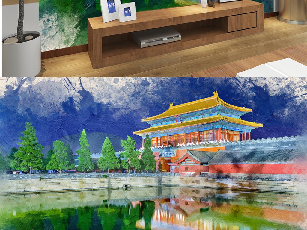 手绘水彩墙天安门  素材图片参数: 编号 : 17661236 格式 : jpg 颜色