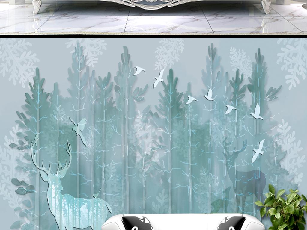 北欧风手绘水彩绿色树林小鹿梦幻背景墙