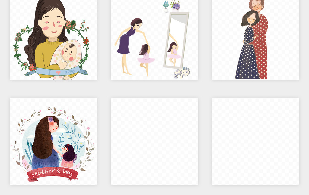 卡通手绘母亲节快乐感恩母亲节康乃馨亲子png免扣素材