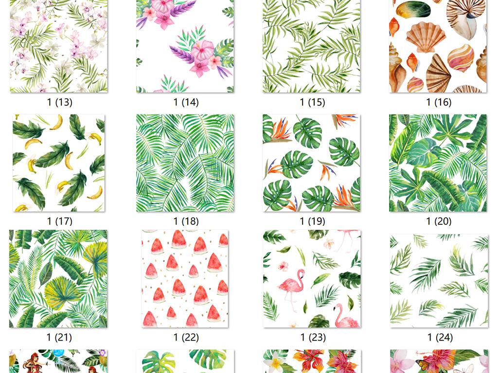 超清夏季水彩手绘植物花卉叶子装饰背景图案