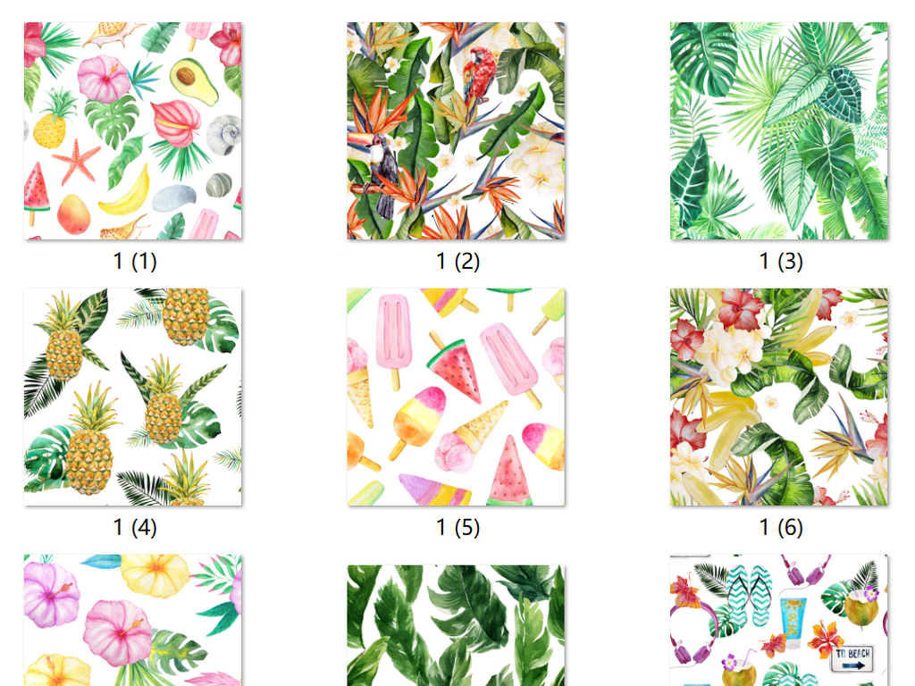我图网提供独家超清夏季水彩手绘植物花卉叶子装饰背景图案素材下载