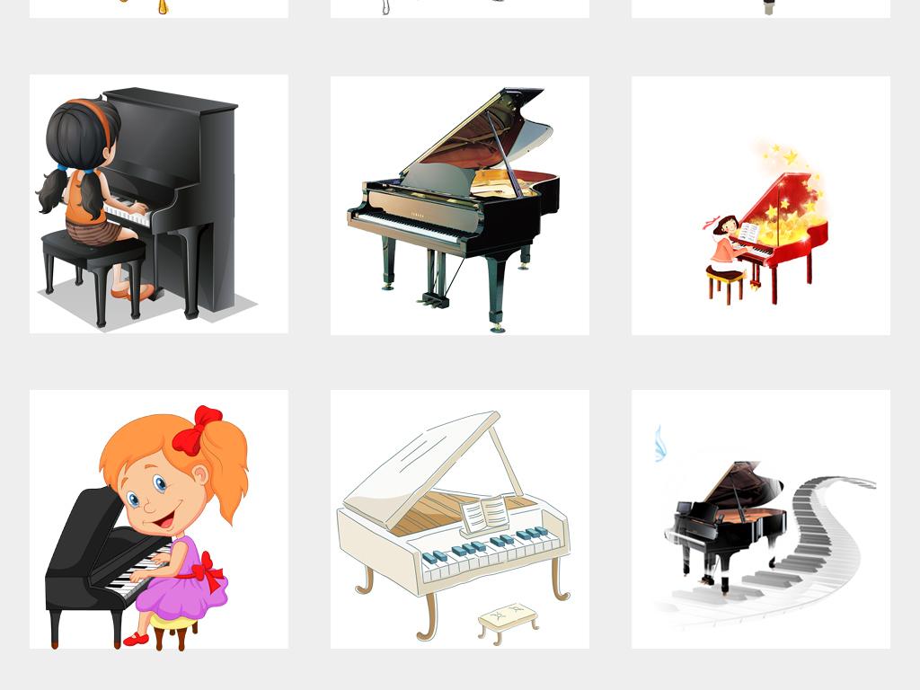 可爱卡通手绘钢琴培训海报设计png免扣素材