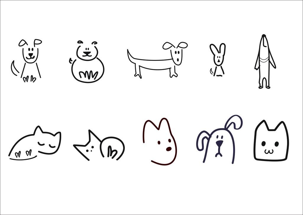 产品图案设计 t恤图案 动物图案 > 简笔画狗狗图案元素  版权图片