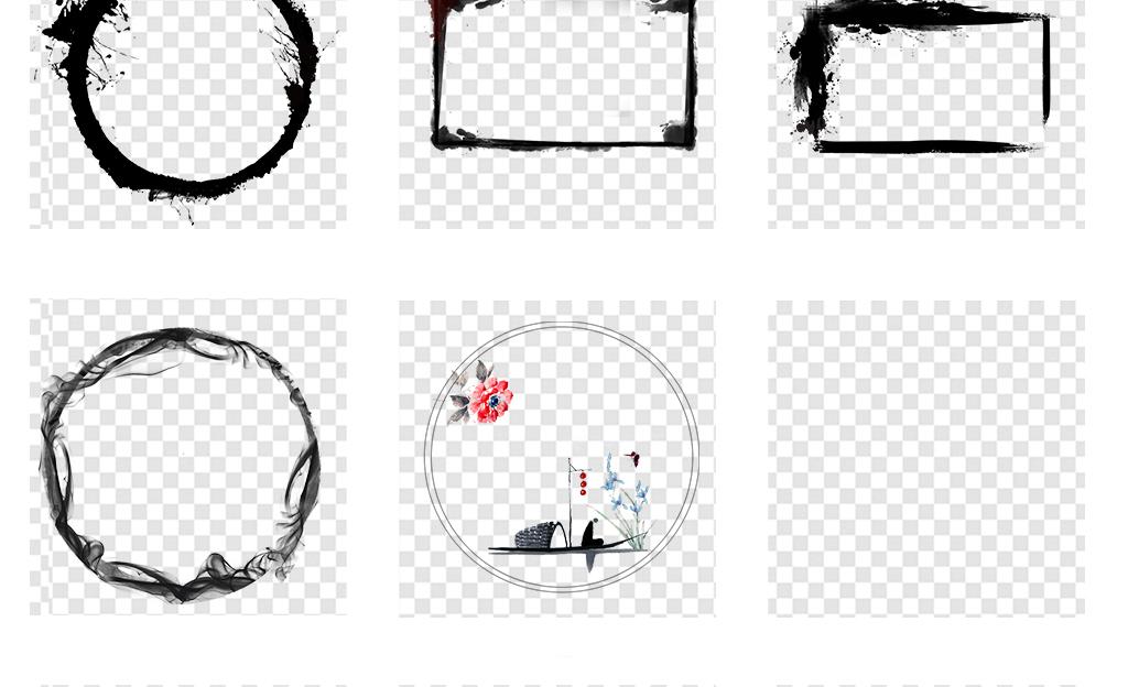 圆形花边新中式风格背景新中式模版中式窗花元素图案背景墙