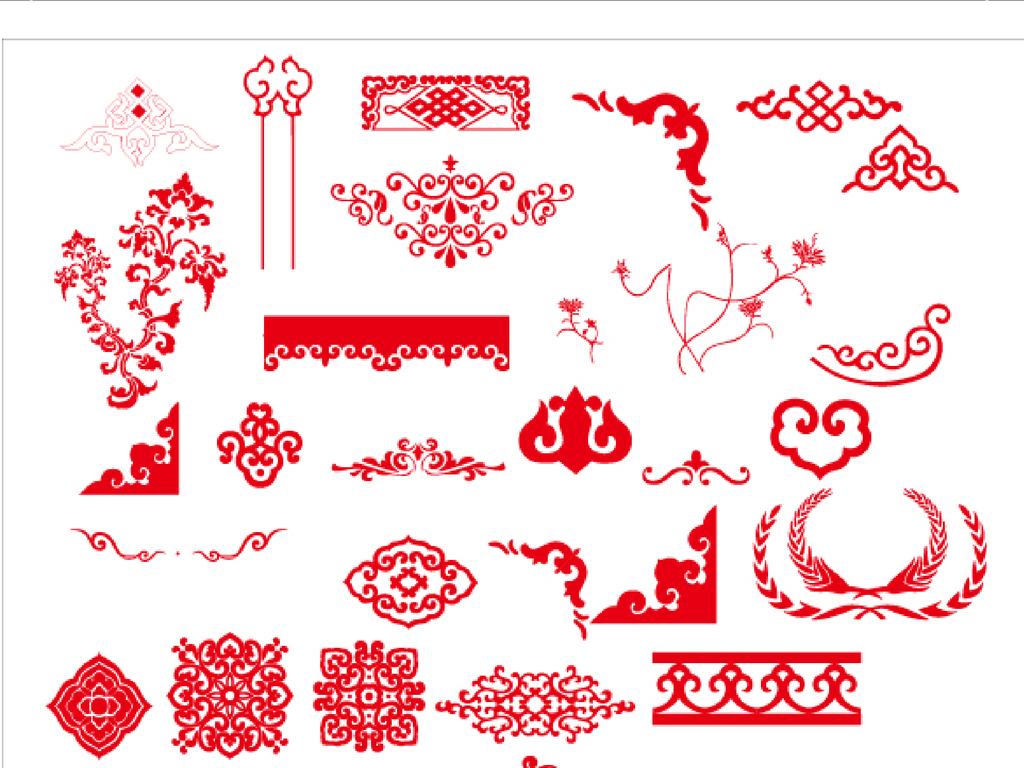 木雕饕餮福囍喜寿梅兰竹菊松牡丹荷花中国边框底纹vip网页版面矢量