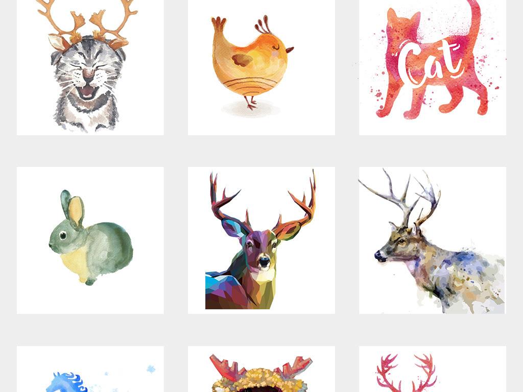 手绘小鹿创意鹿背景水彩小鹿
