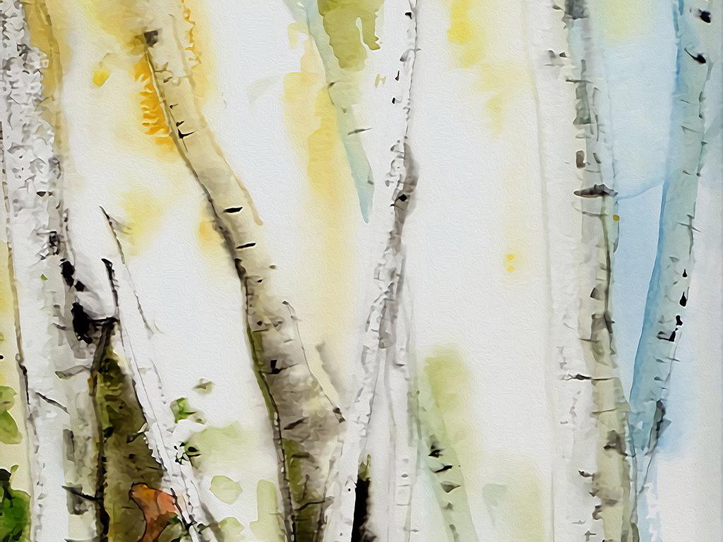 新中式风格手绘白桦树林装饰画无框画背景图