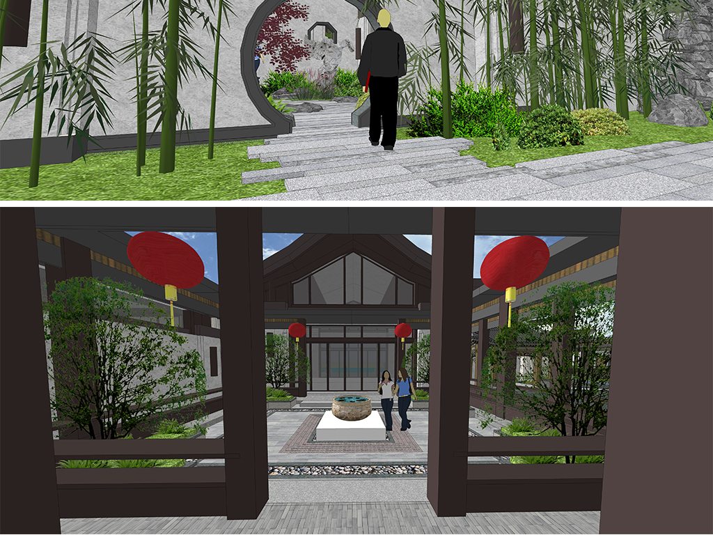 苏州园林太湖石假山置石中式廊亭中式景观亭中式廊架图片