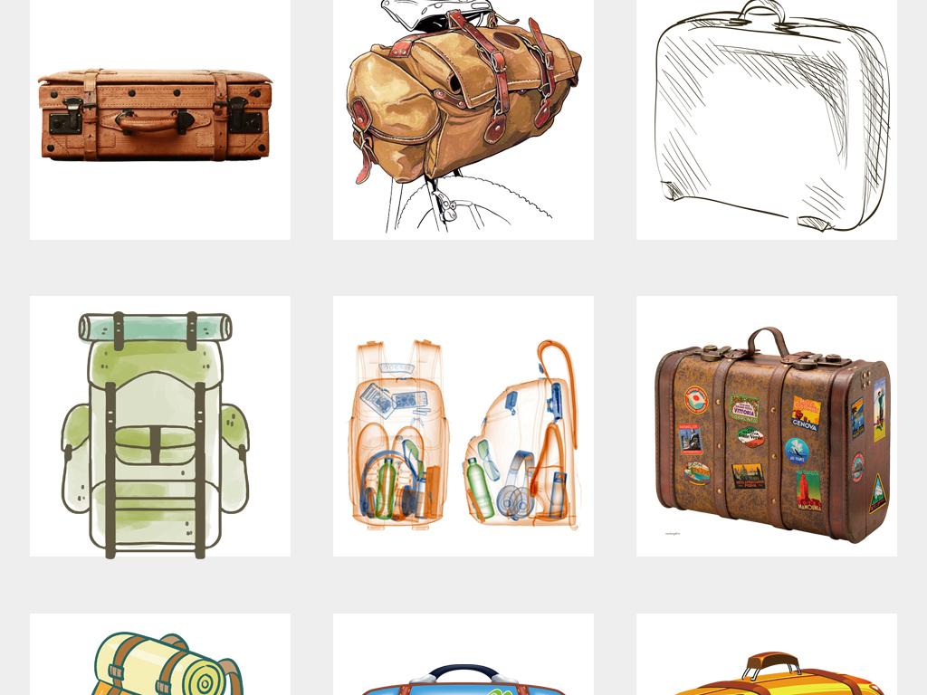 可爱手绘旅行箱度假行李箱复古旅行箱png素材