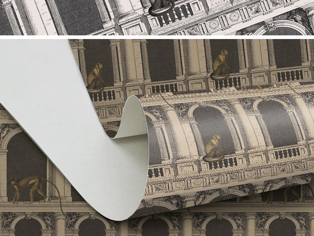 欧式复古怀旧手绘罗马柱拱门猴子墙纸壁纸