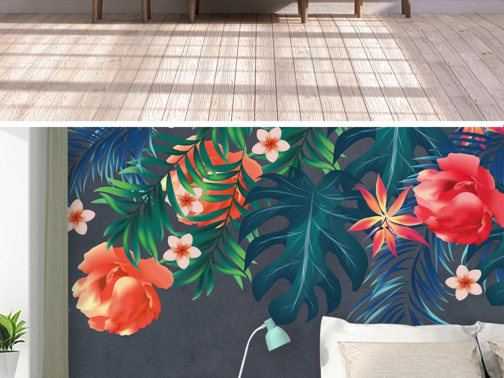 ins风卧室客厅热带雨林背景墙手绘背景墙
