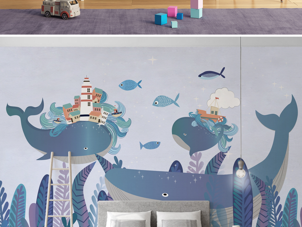 我图网提供独家原创北欧风手绘卡通海底世界儿童房背景墙壁纸正版素材
