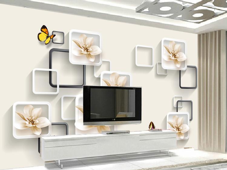 百合蝴蝶3D立体电视背景墙