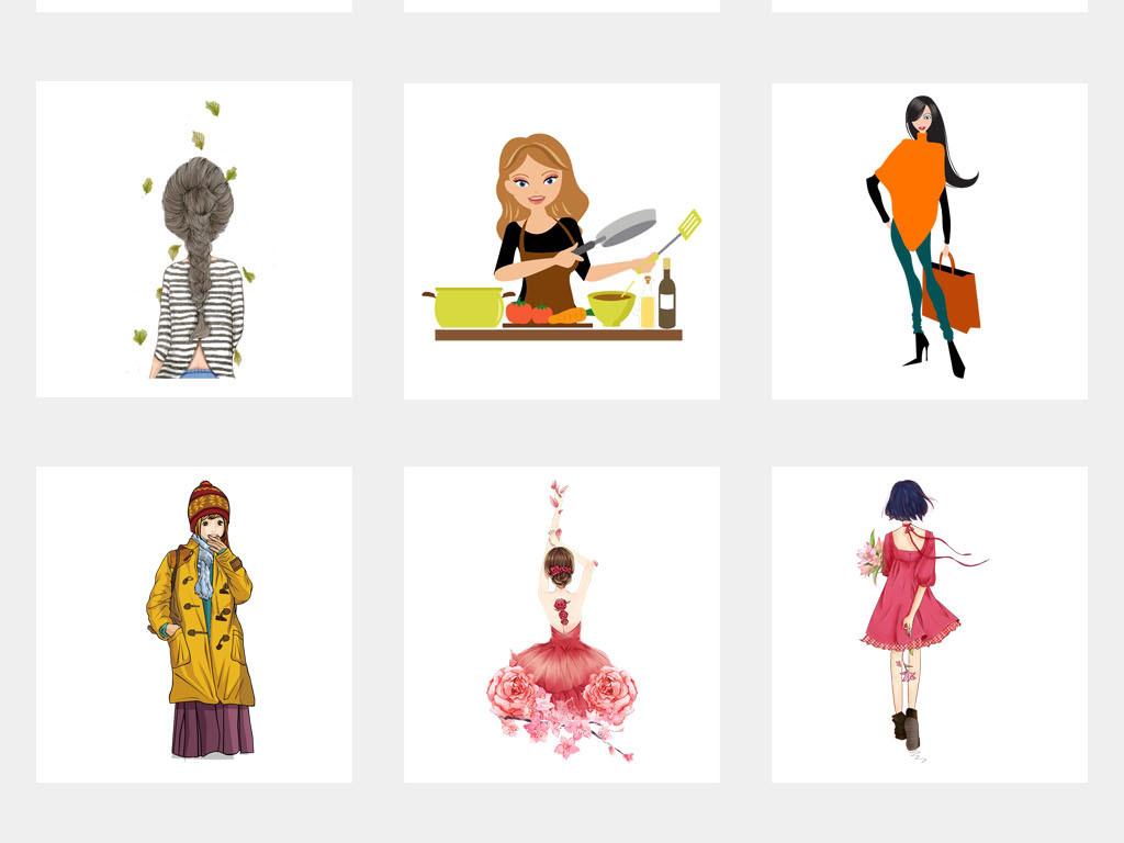 卡通时尚美女手绘彩绘海报背景png素材