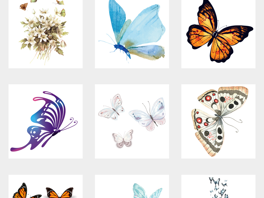 唯美手绘蝴蝶海报设计png免扣素材