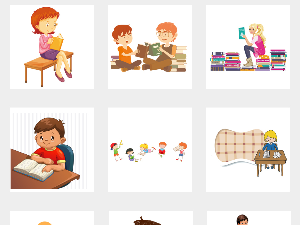 卡通可爱儿童上课学习教育海报png素材