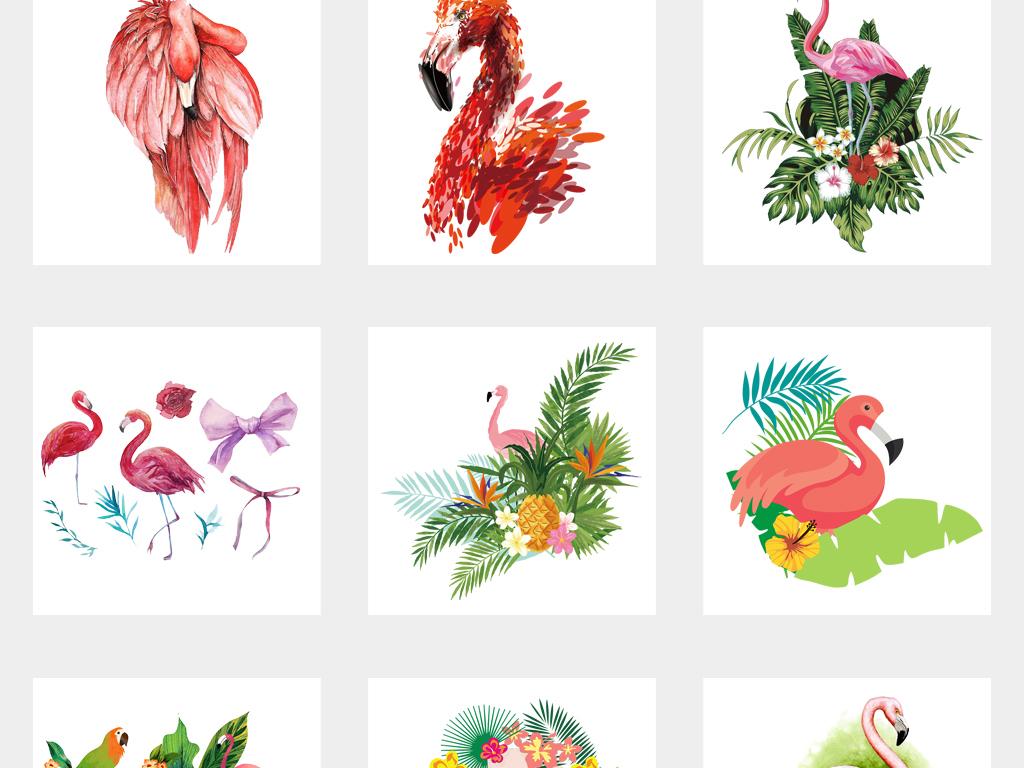 卡通可爱手绘火烈鸟植物png免扣素材