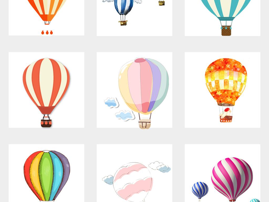 可爱手绘节日热气球氢气球海报设计png免扣素材