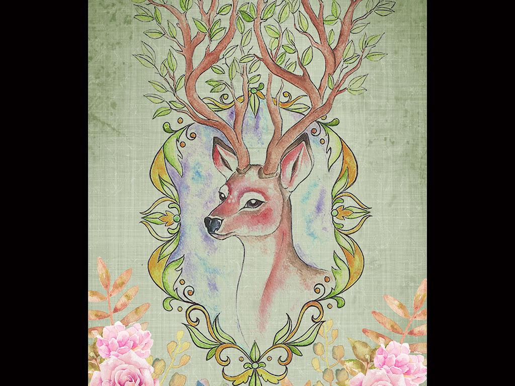 复古怀旧手绘麋鹿花卉现代玄关