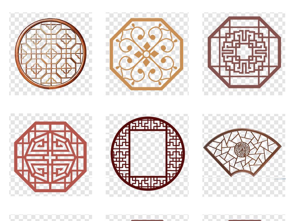 中国风古典中式边框圆环窗花窗格png素材图片