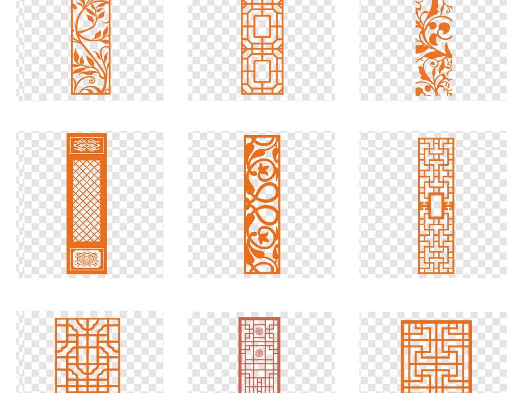 中国风古典中式边框窗格窗花png图片素材