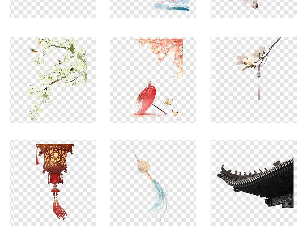 风花纹古风花古典背景素材风景画古风背景中国古代png背景古风素材