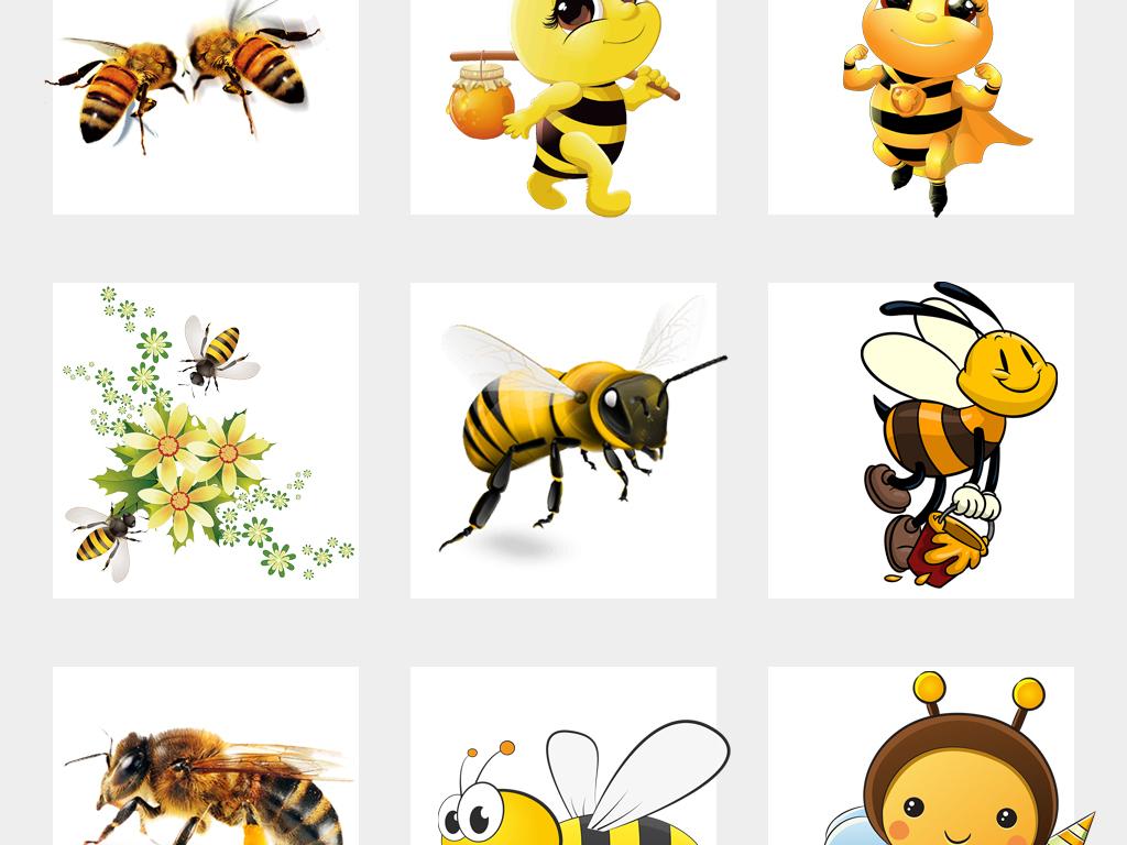 可愛卡通手繪小蜜蜂采蜜海報png免扣素材