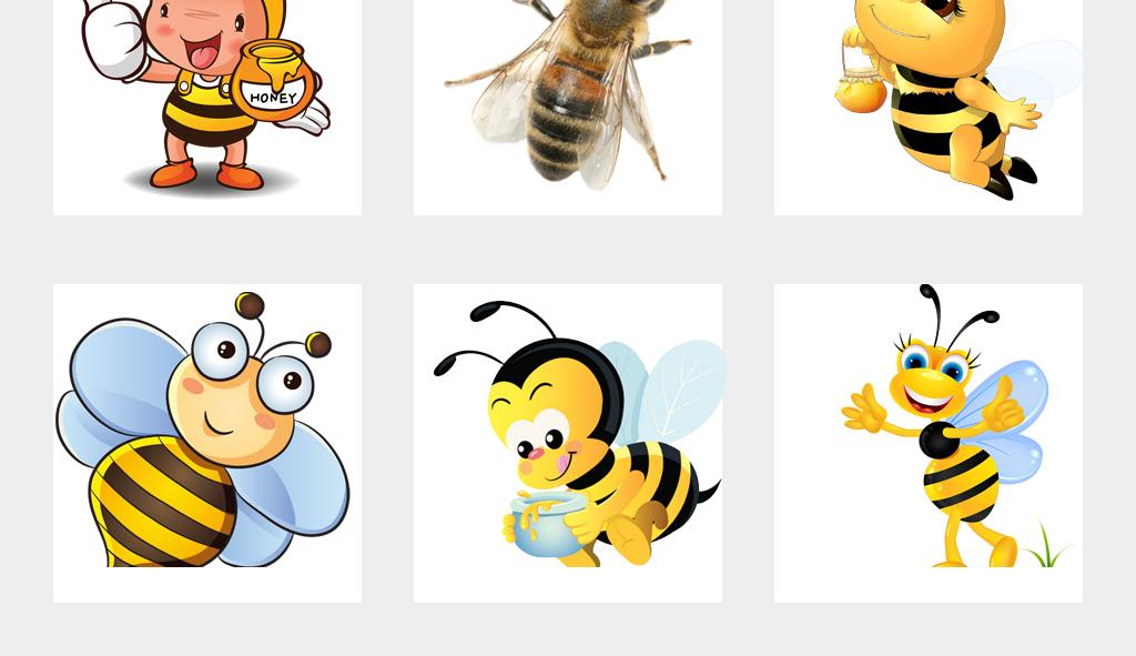 可爱卡通手绘小蜜蜂采蜜海报png免扣素材