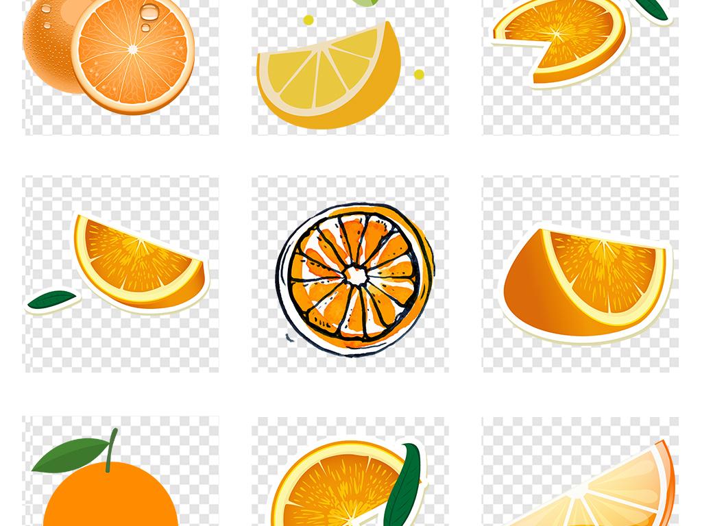 手绘美味橙子水彩橘子柠檬水果png素材