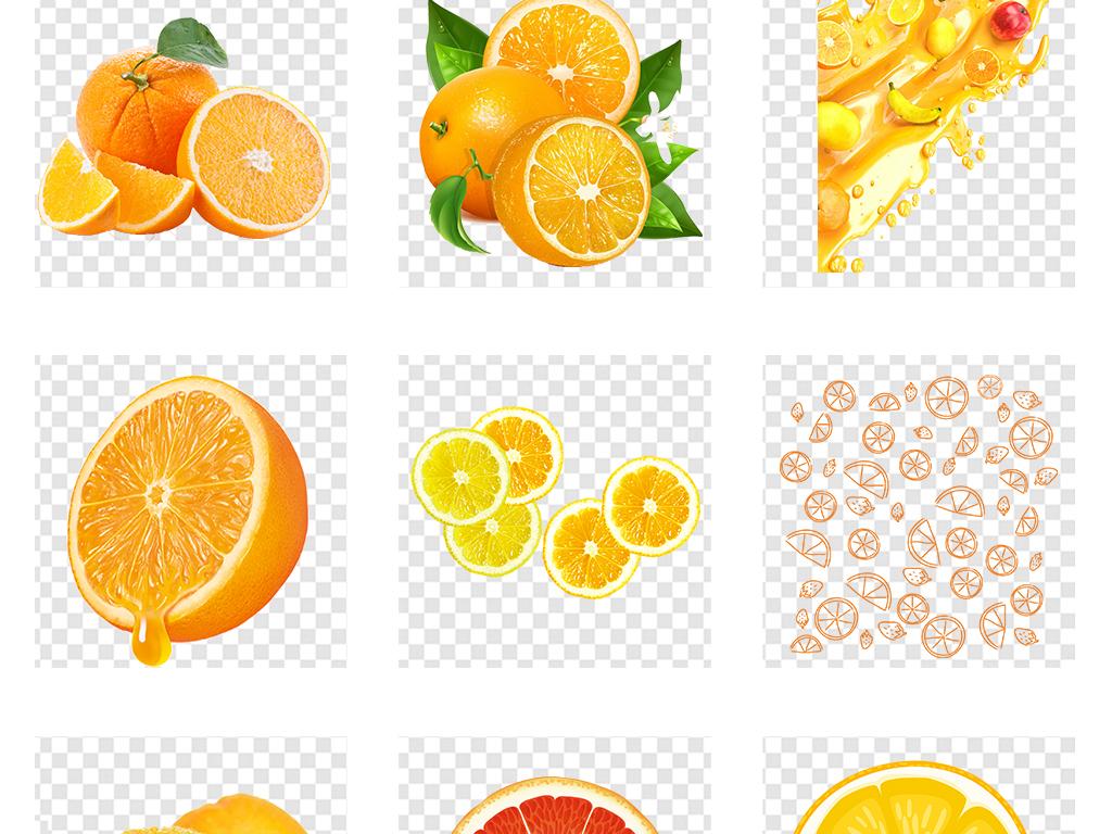 手绘美味橙子水彩橘子橙汁水果png素材