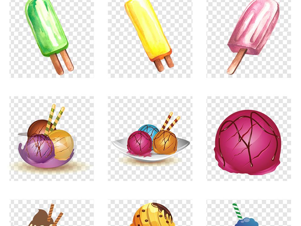 手绘夏天冰沙甜筒冰淇淋png透明背景素材