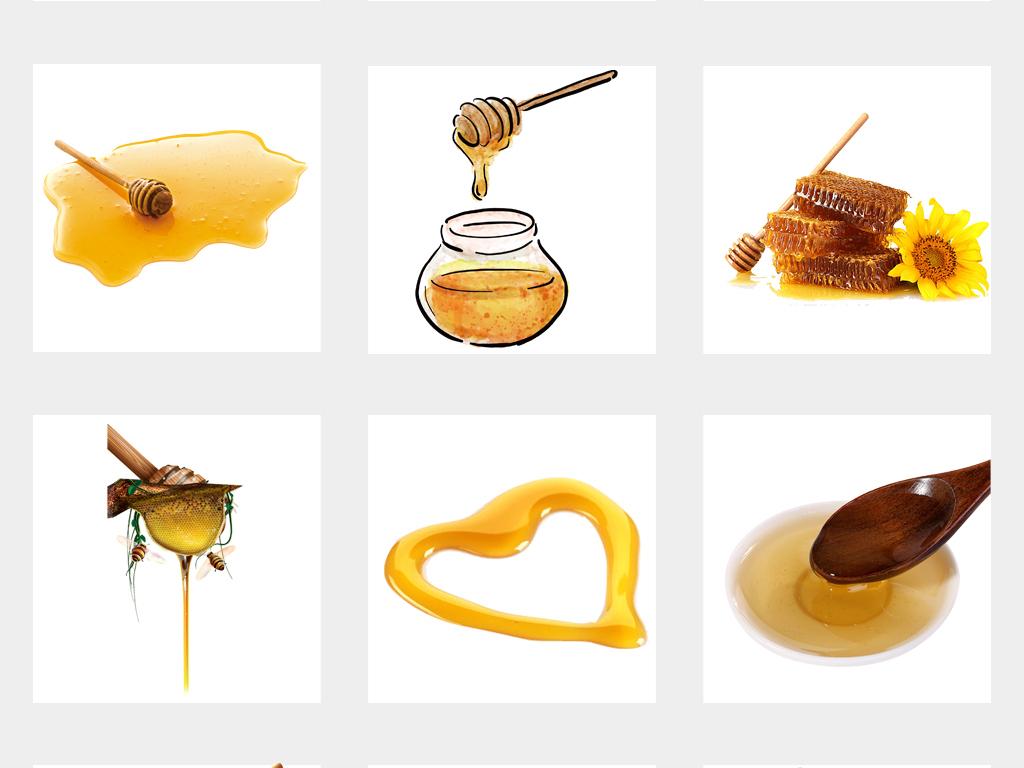 手绘蜜蜂蜂蜜蜂王浆蜂巢海报设计png免扣素材