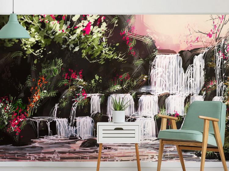 抽象手绘油画北欧流水生财风景背景墙欧式花卉