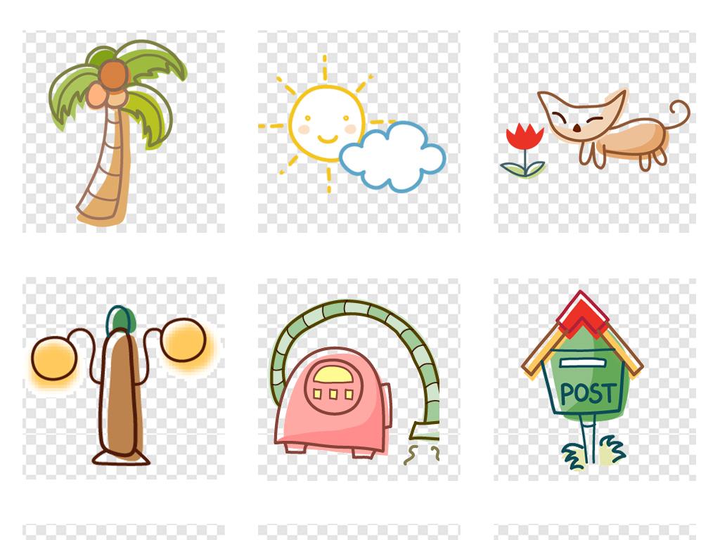卡通手绘小花小草彩绘风车边框图片素材