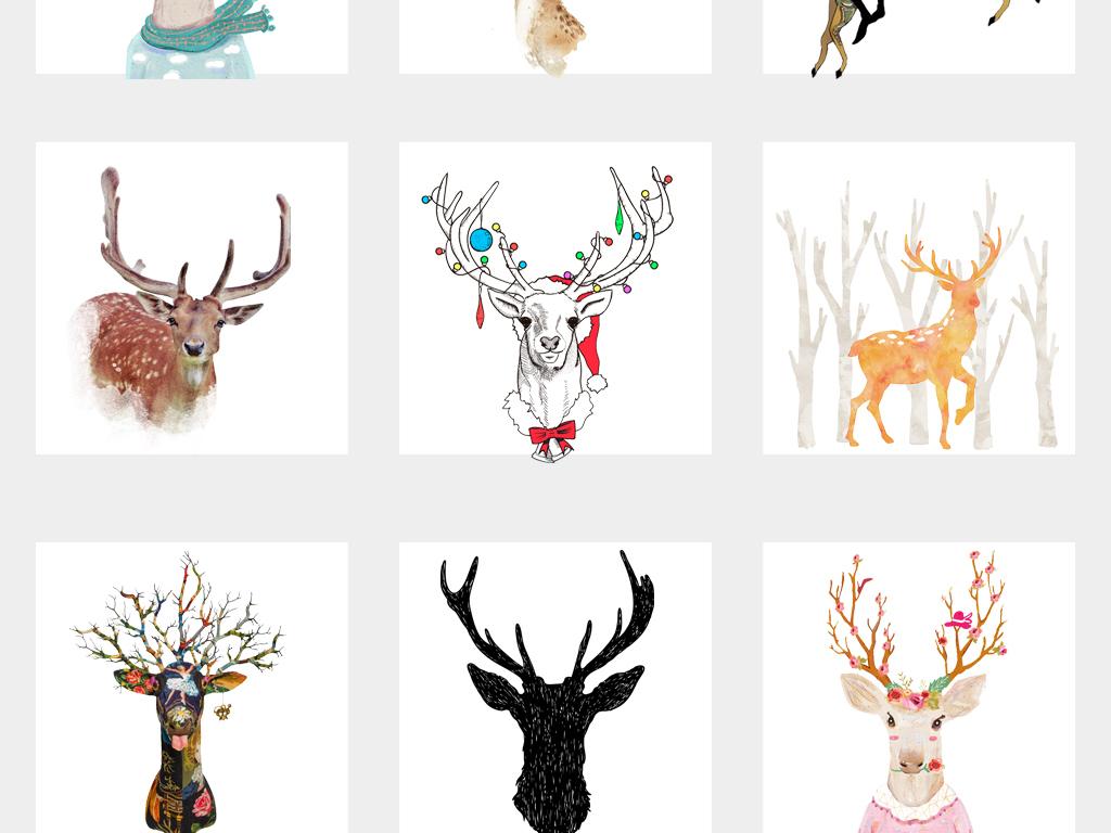 手绘水彩麋鹿头森林鹿剪影麋鹿剪影png素材