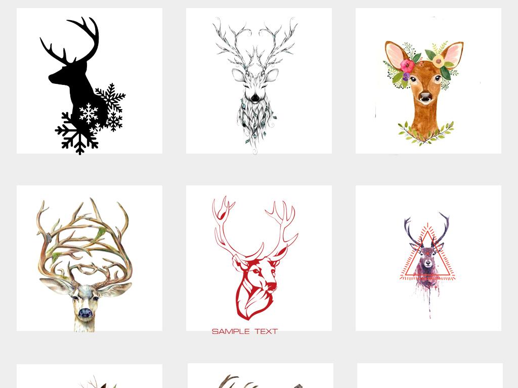 设计元素 自然素材 动物 > 手绘水彩麋鹿头森林鹿剪影麋鹿剪影png素材