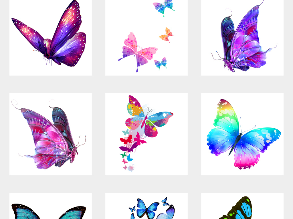 唯美卡通手绘彩色蝴蝶飞舞设计png透明背景元素