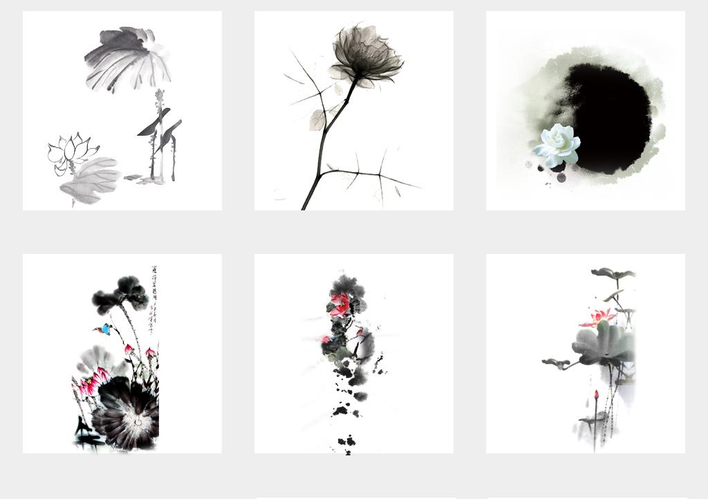中国风水墨山水荷花PNG透明背景素材图片 模板下载 62.42MB 花卉大图片