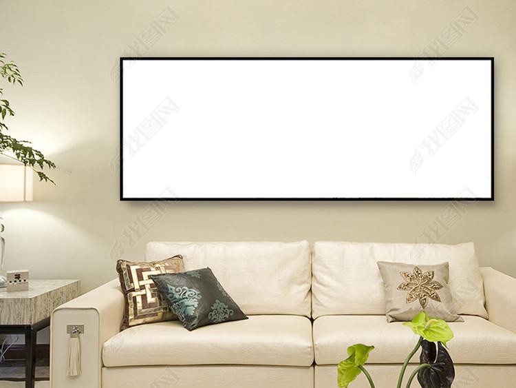 现代大厅客厅卧室无框画有框画挂画场景样机
