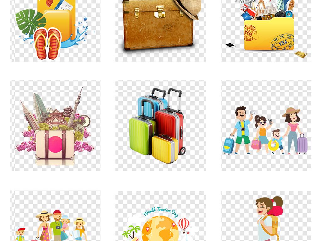 卡通旅行箱五一度假行李箱人物png素材