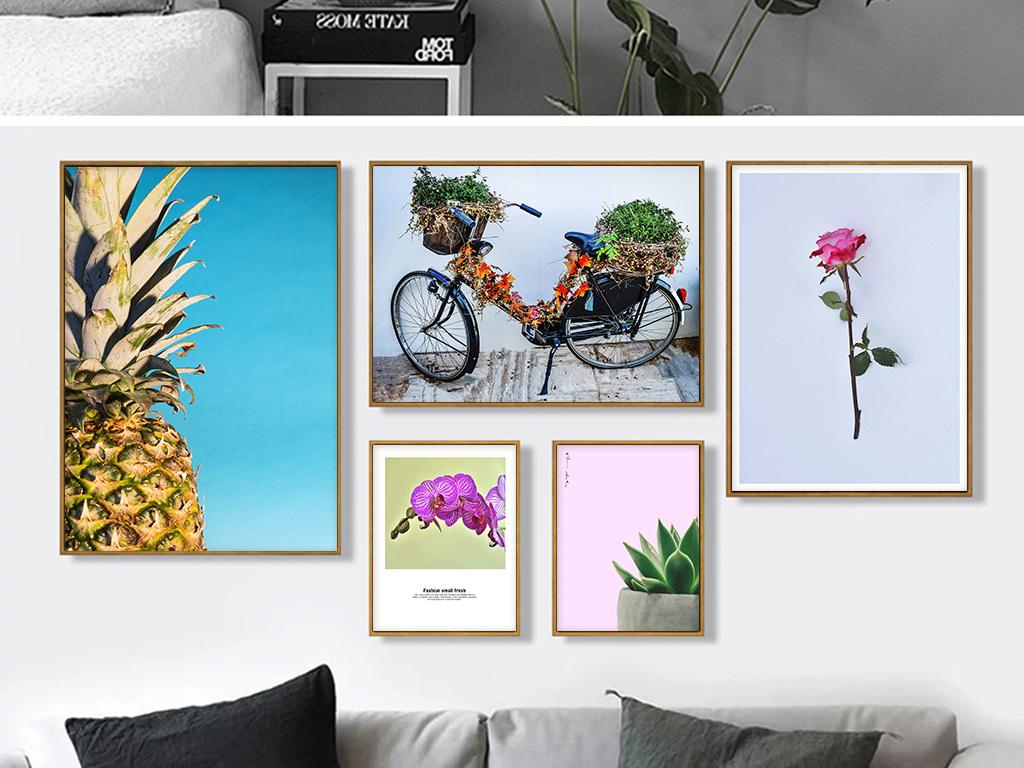 北欧ins植物花卉菠萝风景装饰画