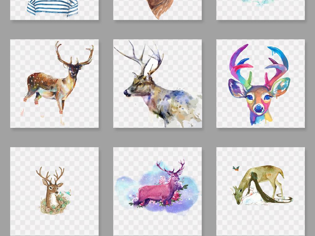 设计元素 自然素材 动物 > 水彩鹿森林鹿剪影麋鹿png素材  素材图片
