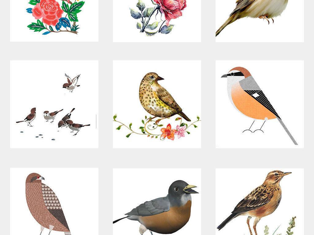 水彩手绘鸟类小鸟麻雀png免扣图片素材
