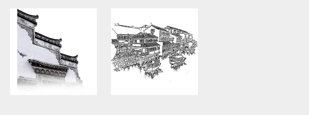 中国风江南水乡古建筑徽派建筑水墨风景设计素材png海报