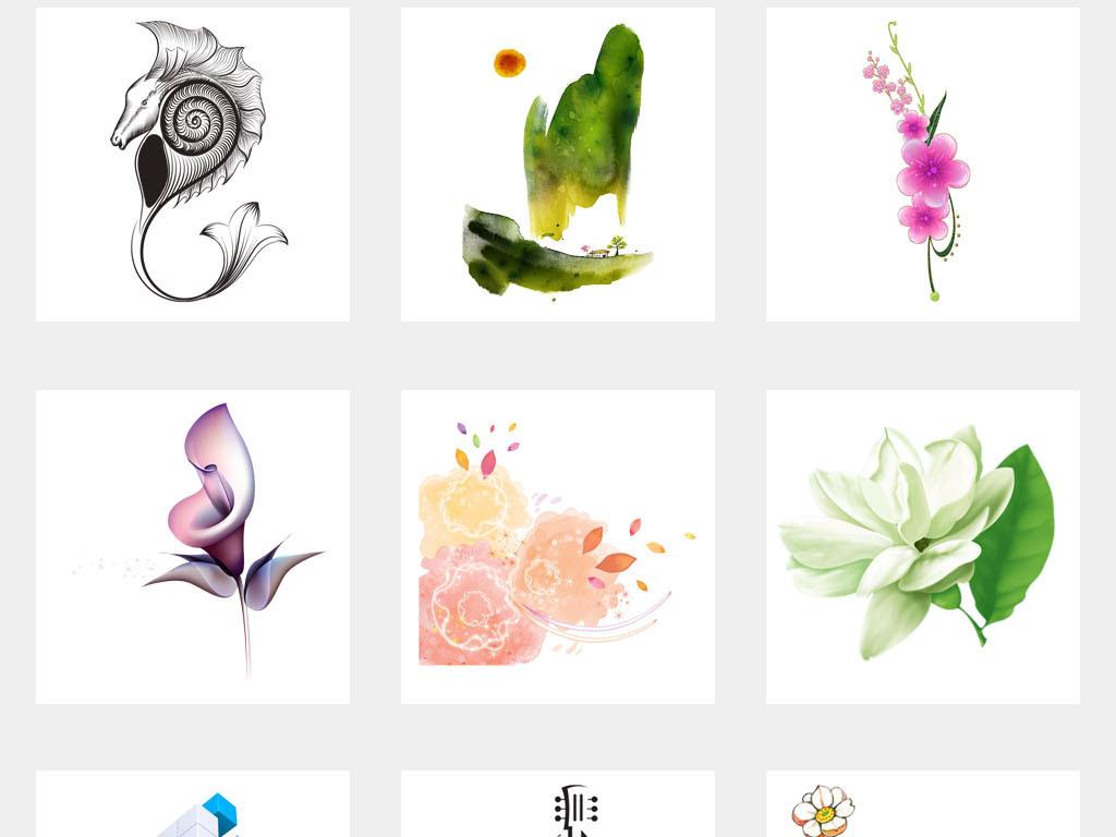 抽象花朵艺术浪漫婚庆海报背景png素材图片